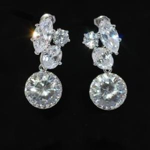 Wedding Earrings, Bridesmaid Earrings, Bridal Jewelry - Multiple CZ Earrings with Round Cubic Zirconia (E534)