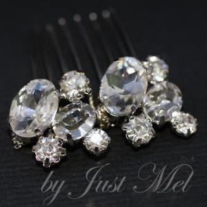 Vintage Oval Crystal Hair Comb (H00..