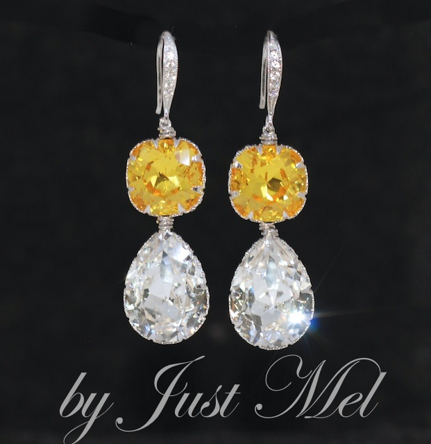Wedding Earrings, Bridesmaid Earrings,Swarovski Square Cushion Cut Light Topaz, Clear Teardrop Crystal with Cubic Zirconia Detailed Sterling Silver Earring Hook (E581)