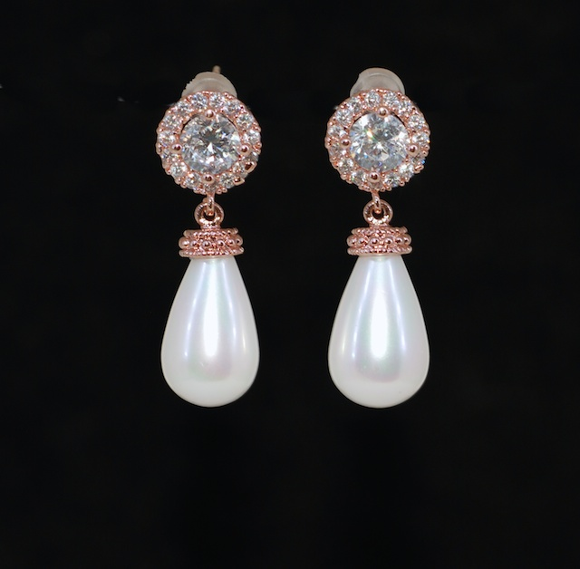 Wedding Jewelry, Bridesmaid MOH Gift - Rose Gold Plated Micropave Round Cubic Zirconia Earring with White Briolette Pearl (E696)