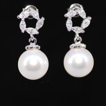 Pearl Earrings, Cubic Zirconia Earrings -Wedding Earrings, Bridesmaid Earrings, Bridal Jewelry (E288)