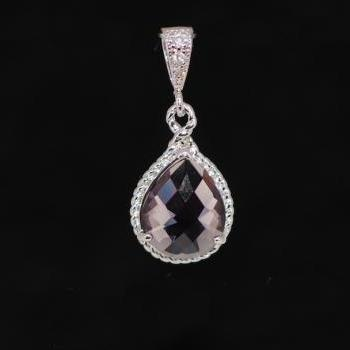 Wedding Jewelry, White Gold Plated Cubic Zirconia Detailed Bail with Amethyst Glass Quartz Pendant (P027)