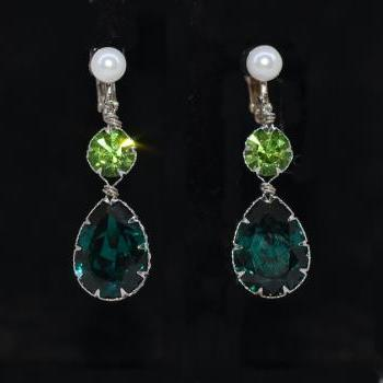 Wedding Jewelry, Bridesmaid Earrings - White Pearl Screw Back Clip On Earring with Swarovski Round Peridot, Emerald Teardrop Crystal (E613)
