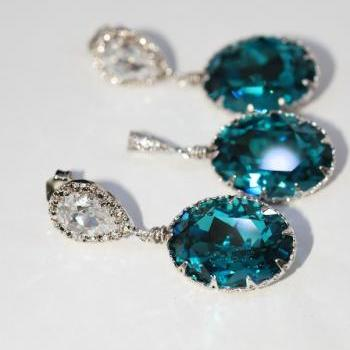 Earrings and Pendant Set (S463a) - CZ Earring with Swarovski Indicolite Oval Crystal (E463), Matching Oval Pendant (P035)
