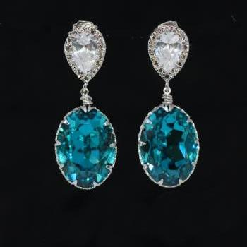 Cubic Zirconia Teardrop and Swarovski Oval Indicolite (Blue Green) Crystal Earrings (E463)
