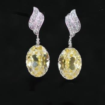 Cubic Zirconia Earrings, Swarovski Jonquil Oval Earrings - Wedding Earrings, Bridesmaid Earrings, Bridal Jewelry (E370)