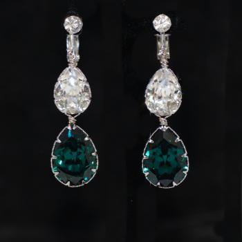 Crystals Clip On Screw Back Earrings, Swarovski Clear Teardrop and Emerald Green Teardrop Crystals - Wedding Jewelry, Bridal Earrings (E682)