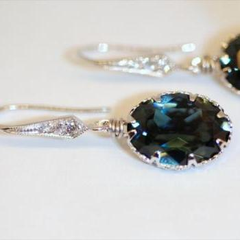 Swarovski Montana Blue Oval Crystal with Cubic Zirconia Detailed Earring Hook(E186)