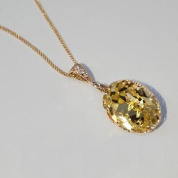 Gold Plated Swarovski Jonquil Oval Necklace (N034)
