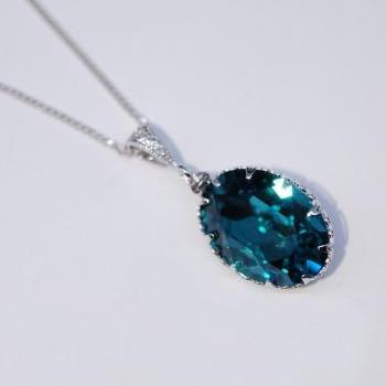 Swarovski Indicolite Oval Necklace (N035)